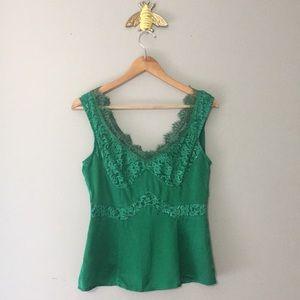 Nanette Lepore Silk Lace Trim Cami